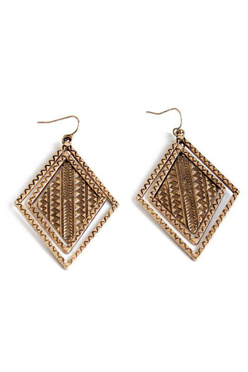 Pair of Vintage Alloy Carving Earrings For Women - COPPER COLOR