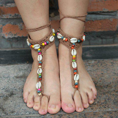 Pair of Knit Beads Conch Sandal Beach Anklets - KHAKI