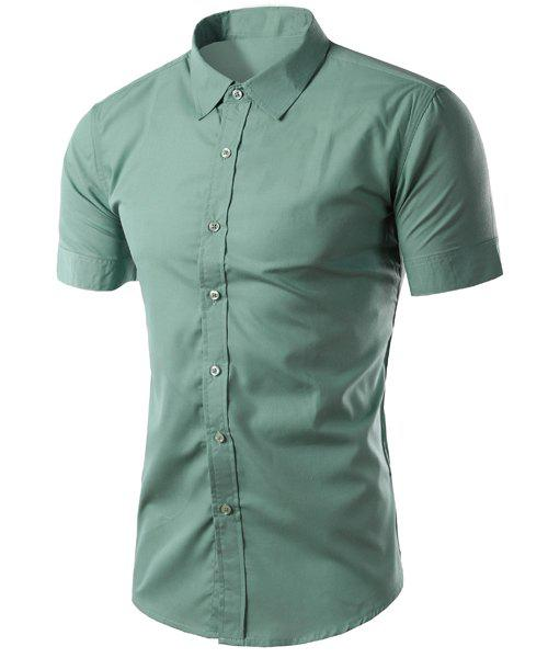 Simple Shirt Collar Solid Color Slimming Men's Short Sleeves Shirt - LIGHT GREEN M