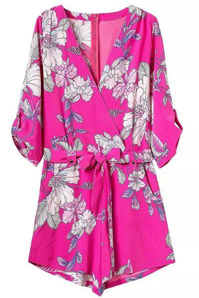 Chic Plunging Neck 3/4 Sleeves Floral Print Women's Romper - ROSE M