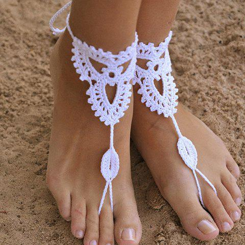 Pair of Trendy Knitted Clover Sandal Anklets For Women - WHITE