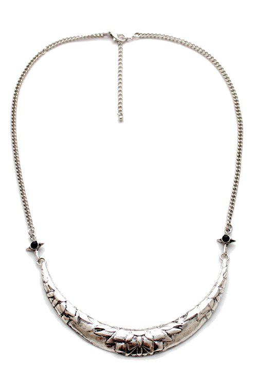Stylish Alloy Crescent Necklace For Women - SILVER