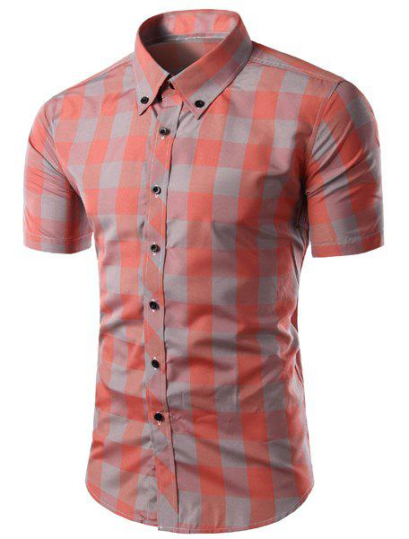 Trendy Slimming Colorful Plaid Pattern Short Sleeves Men's Button-Down Shirt - COLORMIX L