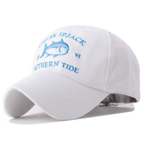 Simple Little Fish Letters Embroidery Baseball Hat For Women - WHITE