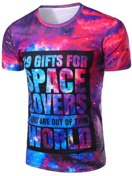 Vogue Round Neck 3D Starry Sky Letters Print Short Sleeves Men's Slim Fit T-Shirt - COLORMIX M