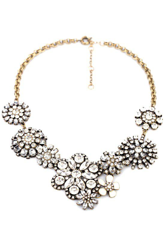 Faux Gemstone Floral Necklace -  WHITE