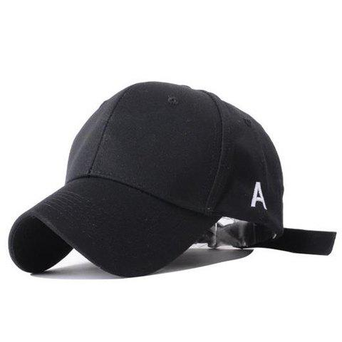 Simple Outdoor Letters Embroidery Sun Block Baseball Hat For Women - BLACK