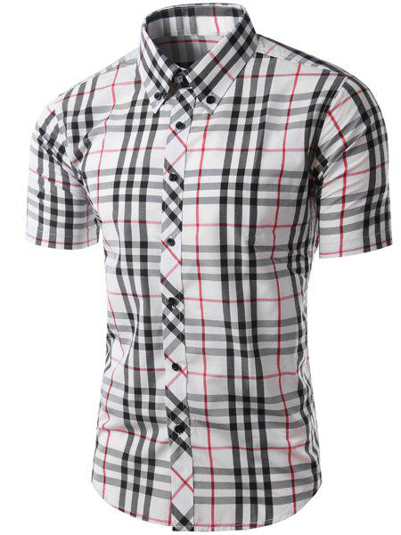 Trendy Slimming Colorful Plaid Pattern Short Sleeves Men's Button-Down Shirt - WHITE/BLACK M