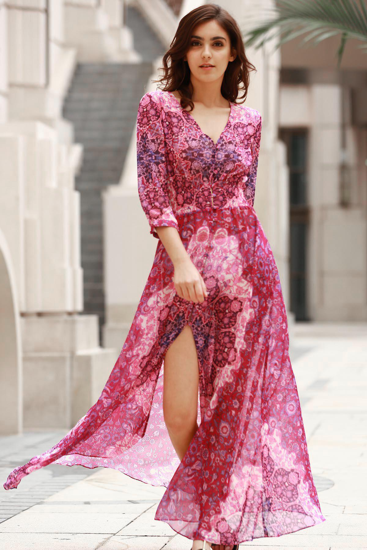 Maxi robe col V à boutons - Rouge S