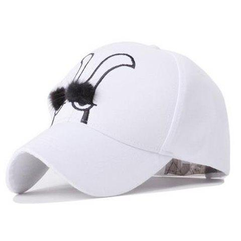 Cute Cartoon Rabbit Eyes Embroidery Baseball Hat For Women -  WHITE