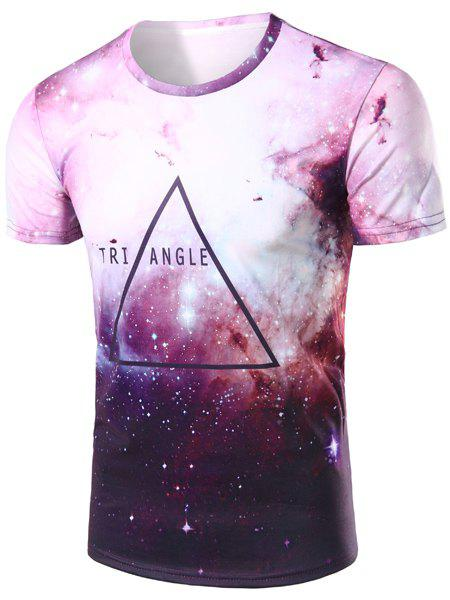Colorful Starry Sky Letters Pattern Round Neck Short Sleeves Men's 3D Printed T-Shirt - COLORMIX S