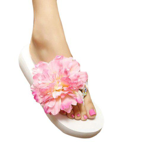 Leisure Flower and Satin Design Women's Slippers - PINK 39