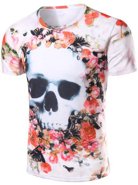 New Style Round Neck 3D Skulls and Floral Print Short Sleeves Slim Fit T-Shirt For Men