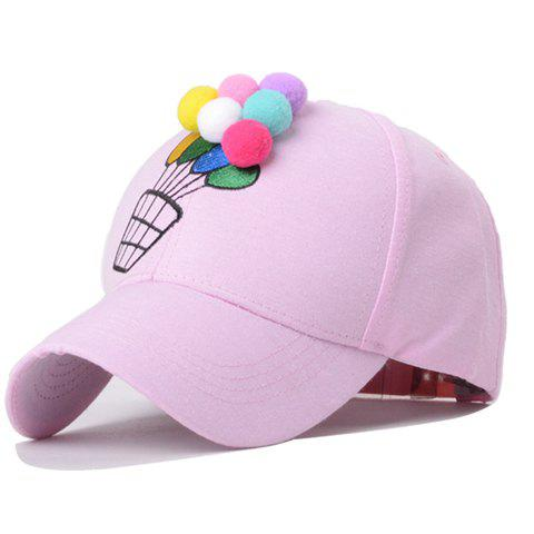 Cute Coloured Globe Embellished Balloon Embroidery Baseball Hat For Women - PINK