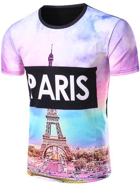 Hit Color 3D Eiffel Tower Letters Print Round Neck Short Sleeves Men's T-Shirt - COLORMIX S