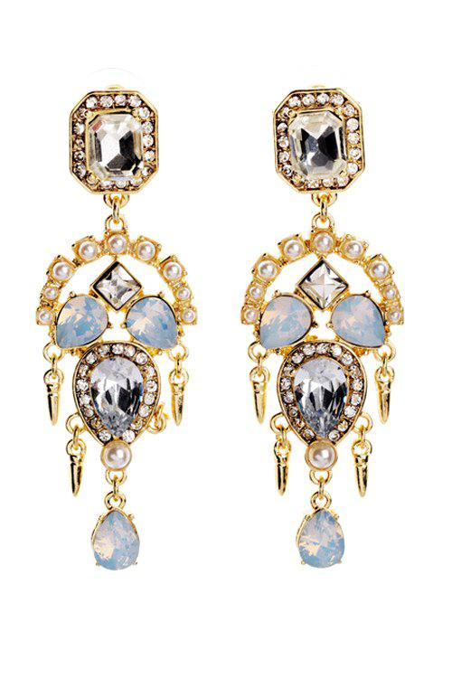 Pair of Faux Crystal Decorated Earrings - GOLDEN