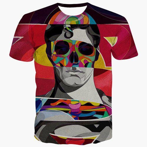 Men's Fashion Skull Man Printed Round Collar T-Shirt - COLORMIX S