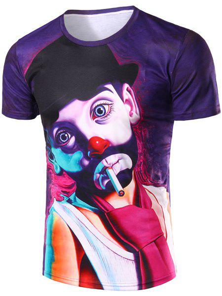 Funny Clown Pattern Round Neck Short Sleeves Men's 3D Printed T-Shirt - XL COLORMIX