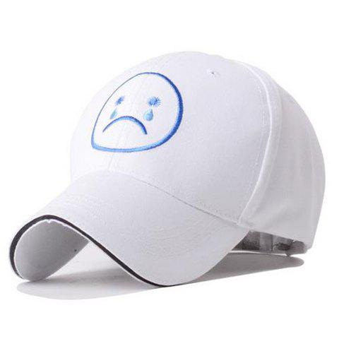 Cute Cartoon Weep Expression Embroidery Baseball Hat For Women -  SAPPHIRE BLUE