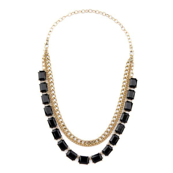 Chic Faux Gem Multi-Layered Pendant Necklace For Women