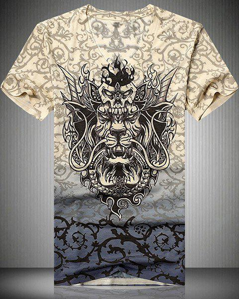 V-Neck 3D Dragon and Thorns Printed Short Sleeve Men's T-Shirt - COLORMIX M