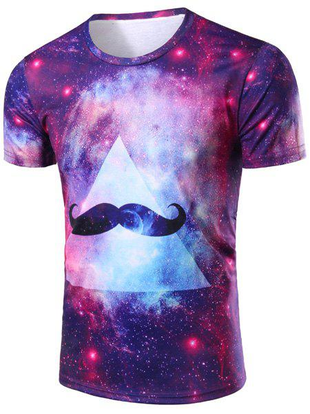 Vogue 3D Colorful Starry Sky Beard Print Round Neck Short Sleeves Men's T-Shirt