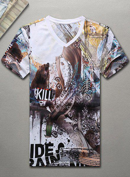 V-Neck 3D Bear and Letters Abstract Printed Short Sleeve T-Shirt For Men
