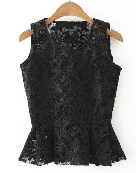 Sweet Scoop Neck Sleeveless Women's Floral Lace Blouse - BLACK L