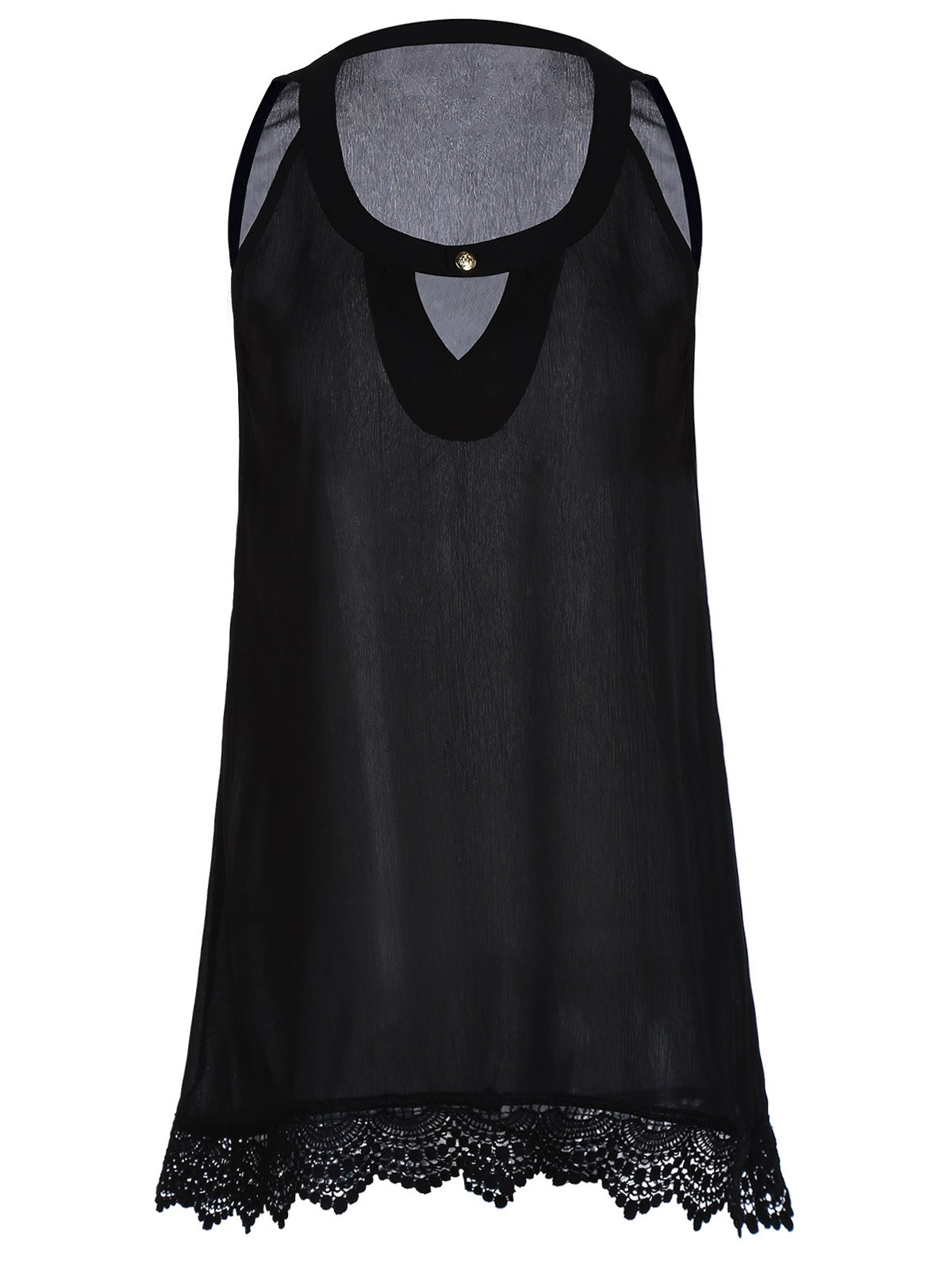 Casual Black One-Button Sleeveless Lace Hem Asymmetric T-Shirt For Women