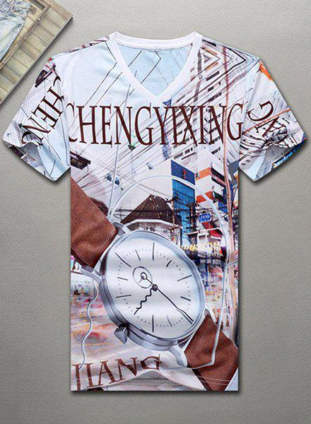 V-Neck 3D Abstract Watch and Letters Printed Short Sleeve Men's T-Shirt - COLORMIX 3XL