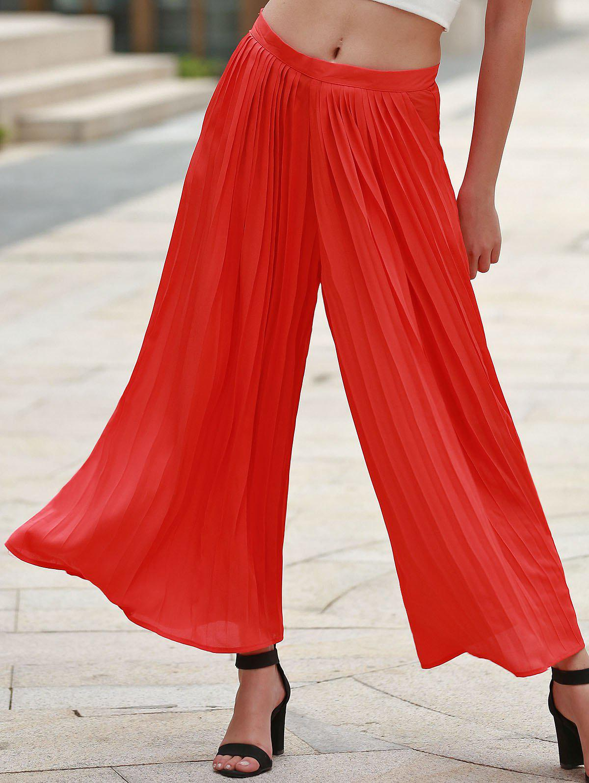 Trendy Pleated Jacinth Chiffon Wide-Leg Ankle Pants For Women - JACINTH S
