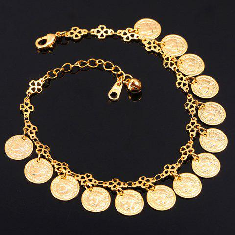 Graceful Solid Color Round Coins Anklet For Women -  GOLDEN