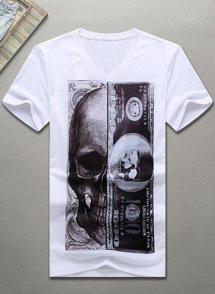 V-Neck 3D Abstract Skull Printed Short Sleeve Men's T-Shirt - WHITE M