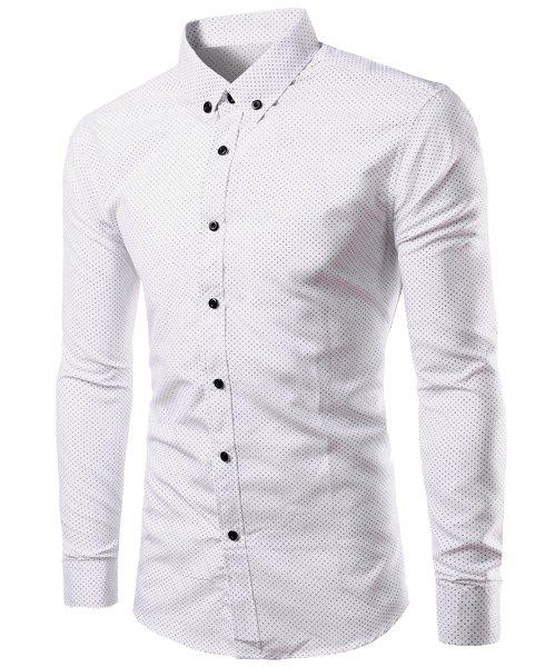 Slimming Shirt Collar Polka Dot Print Long Sleeves Men's Button-Down Shirt - WHITE M