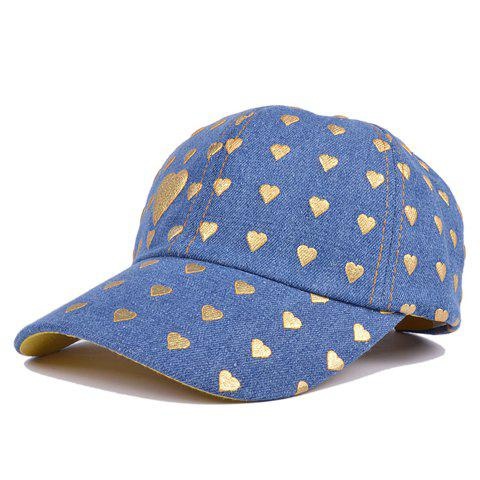 Simple Poker Cards Hearts Print Denim Baseball Hat - AZURE