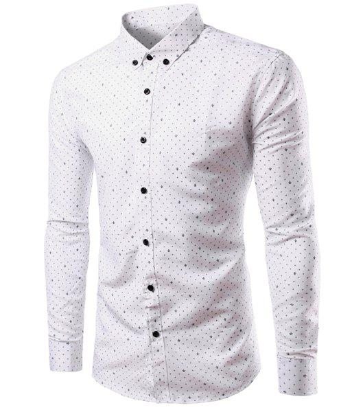 Casual Shirt Collar Trident Print Long Sleeves Men's Slimming Button-Down Shirt - WHITE S