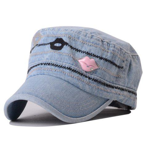 Simple Sexy Lip and Rhinestone Embellished Denim Baseball Hat - LIGHT PINK