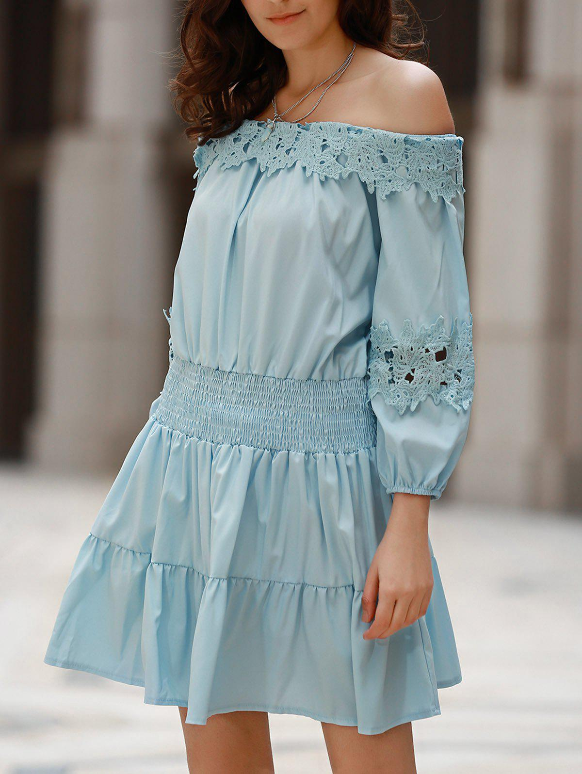 Sweet Style Off-The-Shoulder Long Sleeve Solid Color Elastic Waist Women's Dress - LIGHT BLUE XL