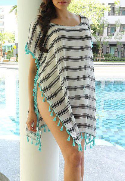 Striped Tassel Spliced Tunic Cover-Up - STRIPE ONE SIZE(FIT SIZE XS TO M)