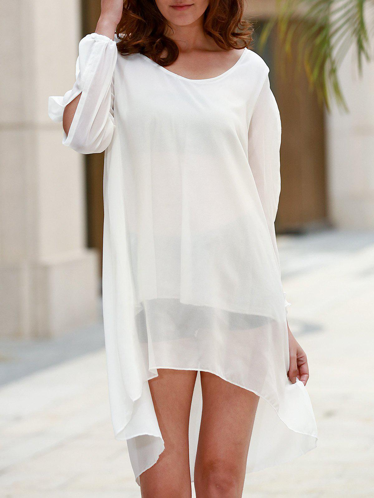 Stylish Scoop Neck Long Sleeve Solid Color See-Through Asymmetrical Hollow Out Women's Dress - WHITE S