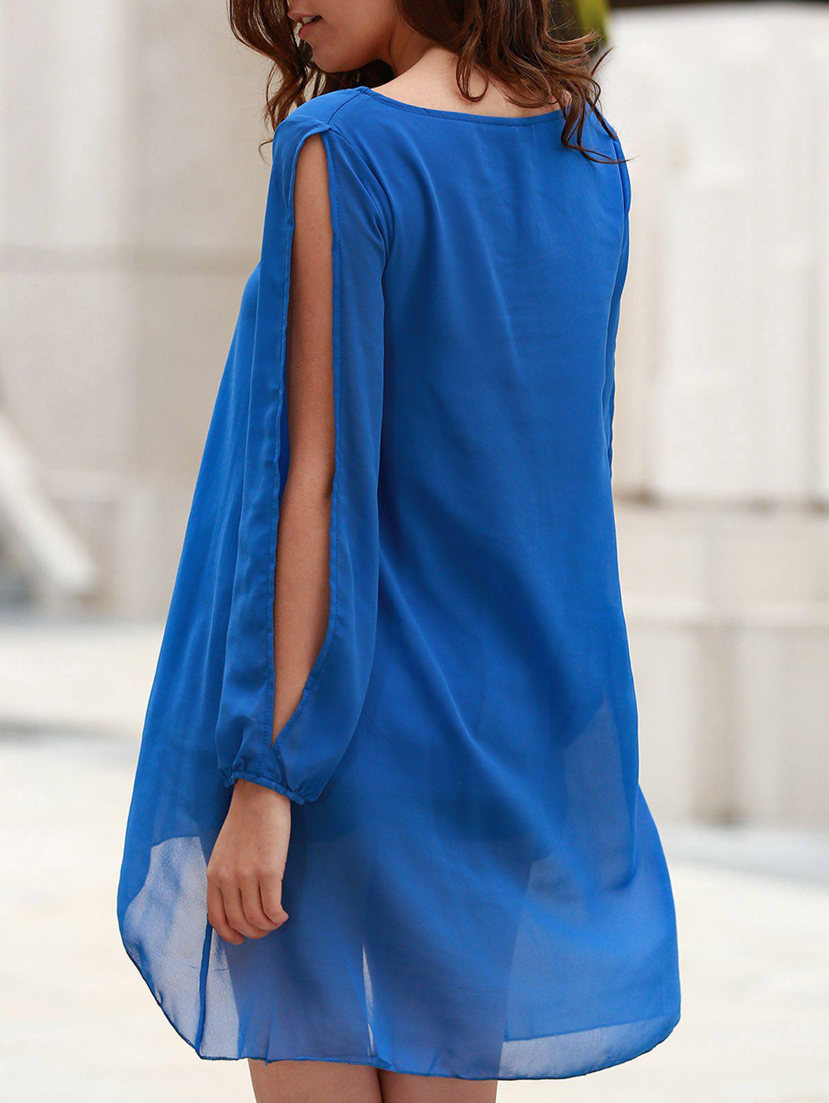 Stylish Scoop Neck Long Sleeve Solid Color See-Through Asymmetrical Hollow Out Women's Dress - SAPPHIRE BLUE S
