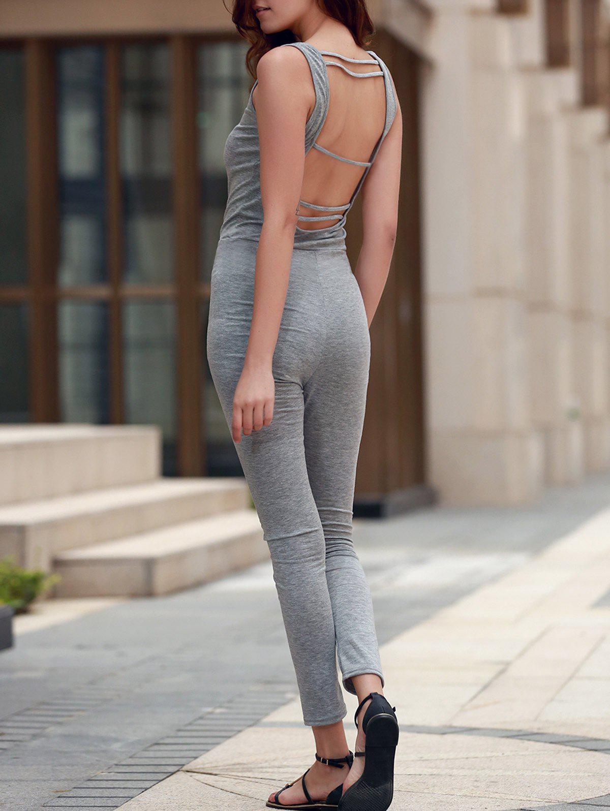 Stylish U Neck Sleeveless Backless Sheathy Gray Women's Jumpsuit - GRAY S