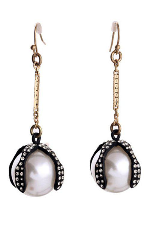 Pair of Stylish Faux Pearl Decorated Drop Earrings For Women - GOLDEN