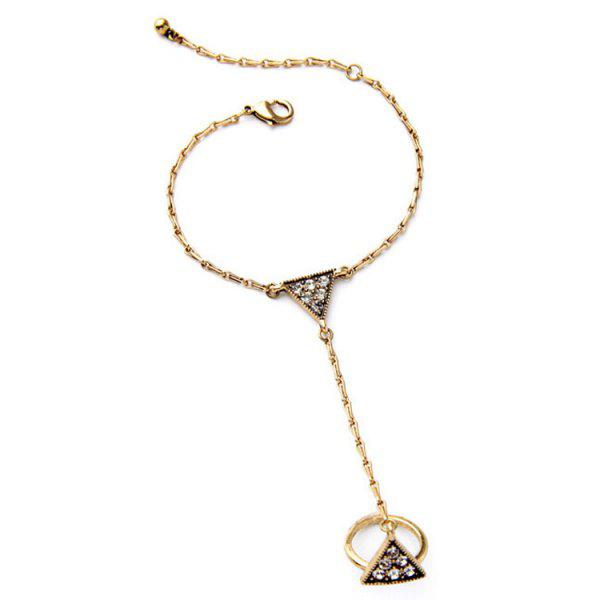 Chic Rhinestone Triangle Bracelet With Ring For Women