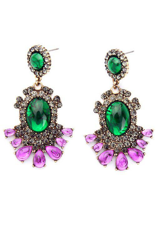 Pair of Stylish Alloy Faux Crystal Earrings For Women - COLORMIX