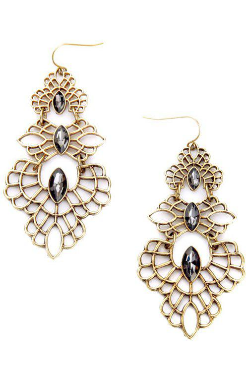 Pair of Vintage Hollow Out Faux Crystal Earrings For Women - GOLDEN