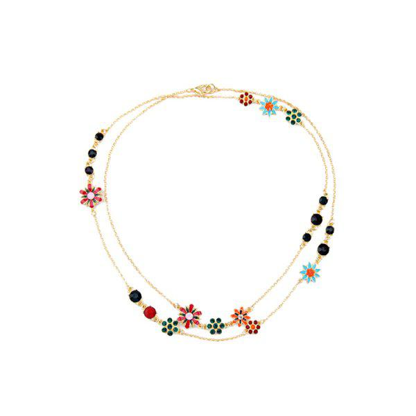 Charming Rhinestone Glaze Floral Necklace For Women