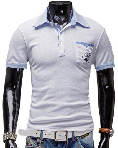 Turn-Down Collar Patch Pocket Color Block Splicing Short Sleeve Men's Polo T-Shirt - WHITE 2XL