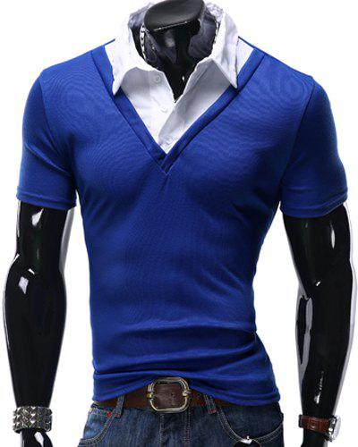 Turn-Down Collar False Twinset Color Block Spliced Short Sleeve Men's Polo T-Shirt