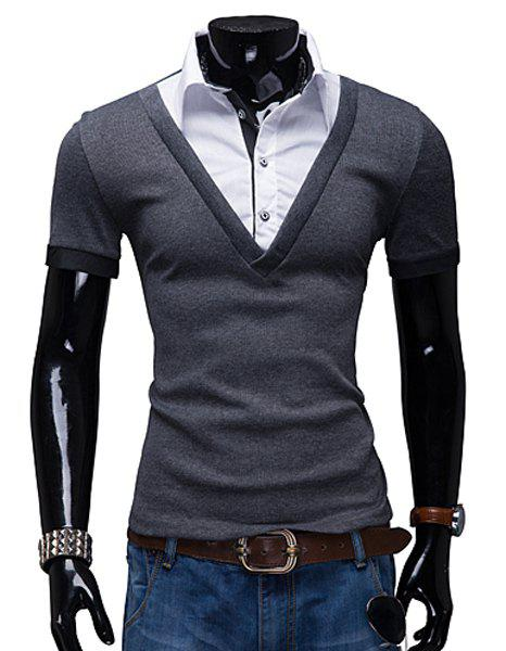 Turn-Down Collar False Twinset Color Block Splicing Short Sleeve Men's Polo T-Shirt - DEEP GRAY XL